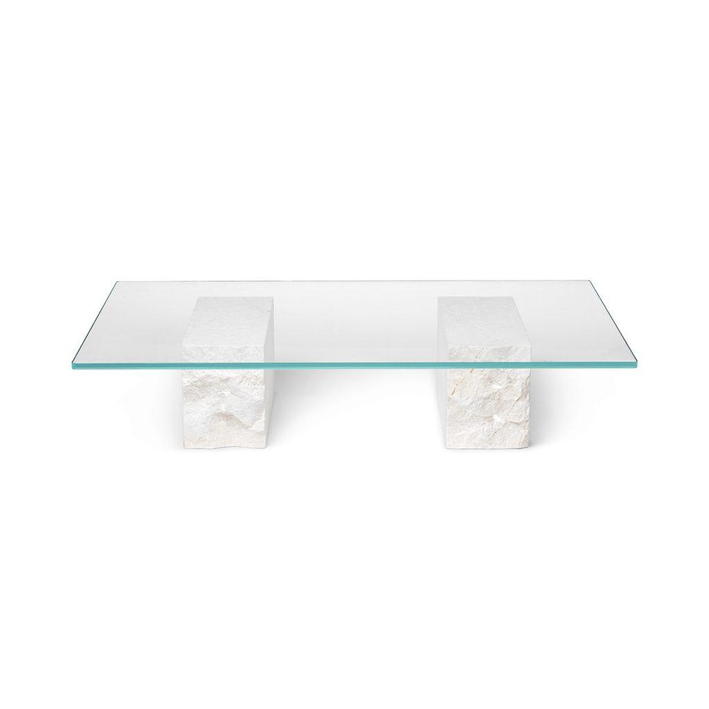 Soffbordet Mineral med vita stenar och härdat glas